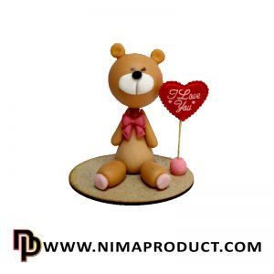 خرس نشسته چوبی ولنتاین