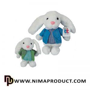 عروسک خرگوش با لباس جلیقه دار