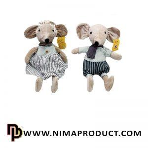 عروسک استرج موش با لباس راه راه