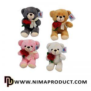 عروسک خرس با گل رز کوچک